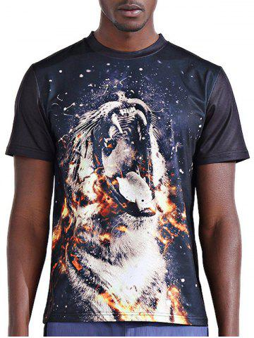 Affordable Round Neck Stylish 3D Fire Leopard Print Short Sleeve T-Shirt For Men - L COLORMIX Mobile