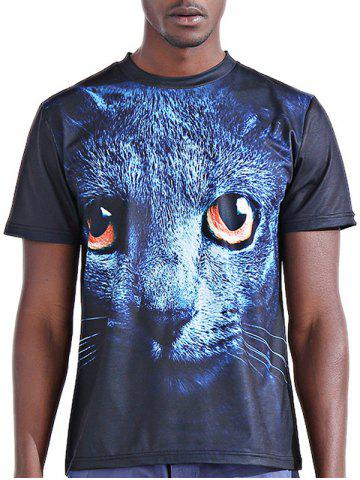 Cheap Round Neck Stylish 3D Panther Print Short Sleeve T-Shirt For Men COLORMIX 2XL