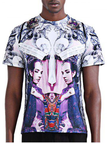 Hot Round Neck Stylish 3D Symmetrical Abstract Figure Print Short Sleeve T-Shirt For Men - L COLORMIX Mobile