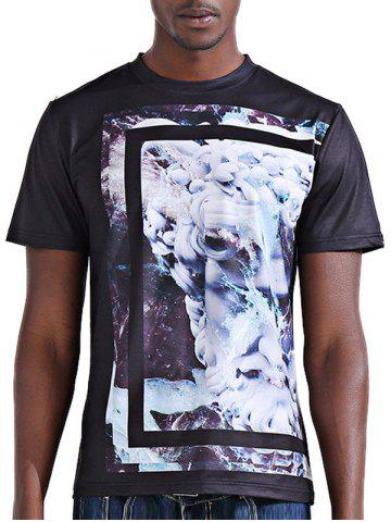 Round Neck Stylish 3D Abstract Flower Print Short Sleeve T-Shirt For Men - COLORMIX 2XL