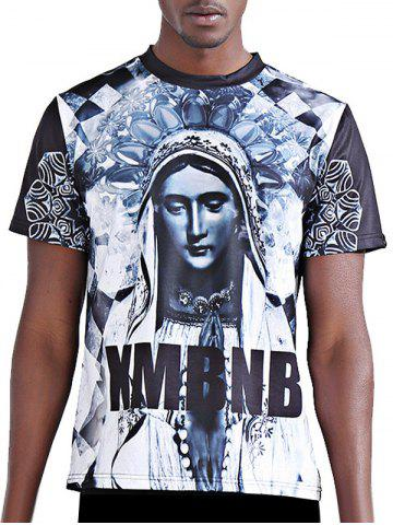 Outfits 3D Character and Letter Printing Round Neck Short Sleeves T-Shirt For Men - S COLORMIX Mobile