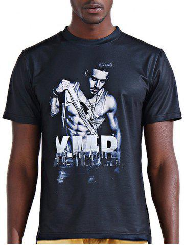 Discount Round Neck Stylish 3D Letter and Muscle Man Print Short Sleeve T-Shirt For Men