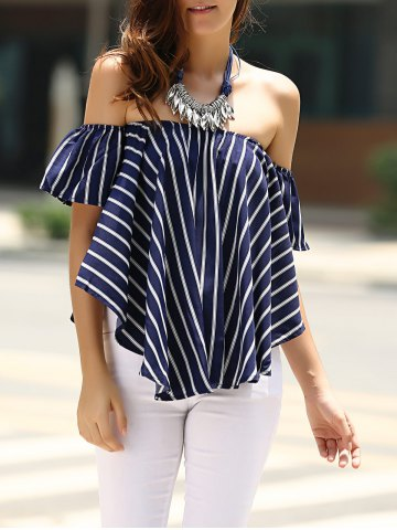 Outfits Sweet Off-The-Shoulder Striped T-Shirt For Women
