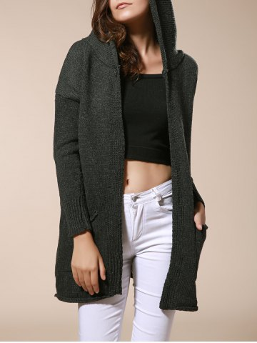 Buy Long Sleeve Pockets Hooded Knit Cardigan OLIVE GREEN ONE SIZE