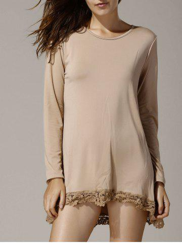 Discount Stylish Round Neck Long Sleeve Asymmetrical Hollow Out Women's T-Shirt KHAKI S