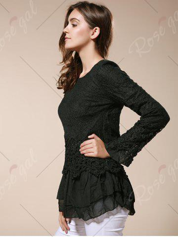 Fashion Lace Panel Long Sleeve Casual Top - M BLACK Mobile