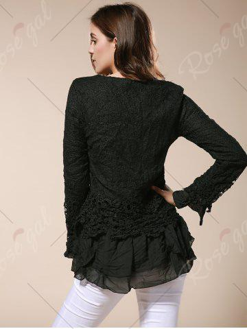 Cheap Lace Panel Long Sleeve Casual Top - M BLACK Mobile