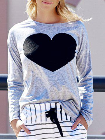 Chic Women's Heart Pattern T-Shirt Long Sleeve Crew Neck Tops LIGHT GRAY M