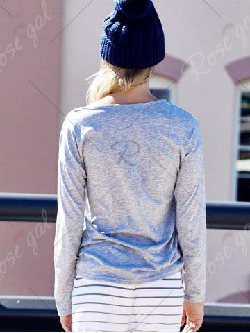 Fashion Women's Heart Pattern T-Shirt Long Sleeve Crew Neck Tops - M LIGHT GRAY Mobile