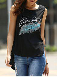 Casual Scoop Neck Feather Print Tank Top For Women