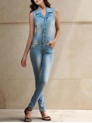 Stylish Turn-Down Collar Sleeveless Bleach Wash Denim Jumpsuit For Women