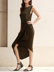 Sexy Sleeveless Solid Color Slit Asymmetric Wrap Pleated Plus Size Dress For Women
