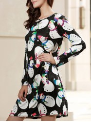 Sweet Jewel Neck Long Sleeve Snowman Print Women's Christmas Dress