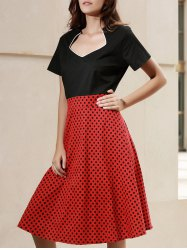 Elegant Sweetheart Neck Short Sleeve Polka Dot Women's Dress