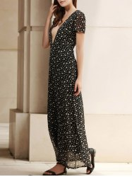 Low Cut Stars Print Maxi Dress for Summer - DEEP GRAY