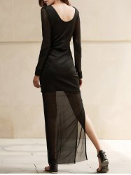 Plunge See Thru Slit Long Night Out Dress