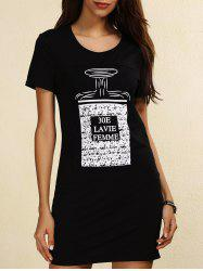 Short Sleeve Print Casual T-Shirt Dress - BLACK