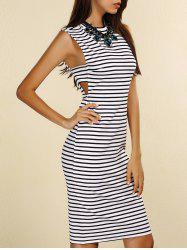 Sleeveless Striped Cutout T-Shirt Bodycon Dress -