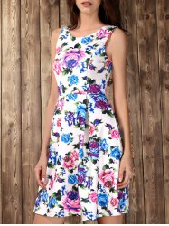 Retro Style High Waisted Floral Print Dress -