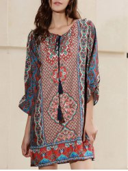 Casual Boho Tribal Print Tunic Shift Dress - RED