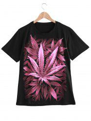 Trendy Round Neck Leaves 3D Print T-Shirt For Women -