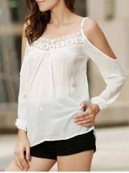 Sexy Strappy Hollow Out Lace Splicing  Long Sleeve Blouse For Women - WHITE