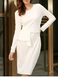 Chic Round Collar Long Sleeve Pure Color Bodycon Women's Dress - WHITE