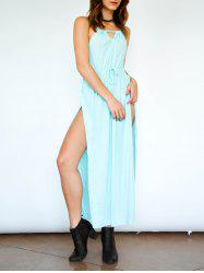 Bohemian Spaghetti Strap Hollow Out High Furcal Women's Dress - LIGHT BLUE