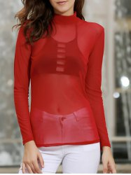 Sexy Stand Collar Long Sleeve Pure Color See-Through Women's T-Shirt -