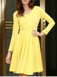 V-Neck Long Sleeve Modest A-Line Dress