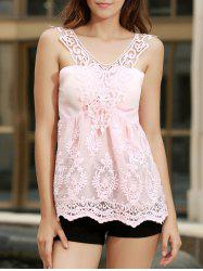 V Neck Embroidered Lace Tank Top - PINK S