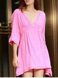 Stylish Plunging Neckline Lace Splicing 1/2 Sleeve Cover-Up For Women
