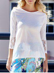 Charming Round Collar Lace Irregular Hem Long Sleeve Women's White Blouse - WHITE