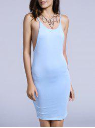 Charming Spaghetti Strap Backless Solid Color Bodycon Dress For Women
