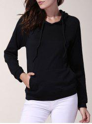 Casual Solid Color Hooded Long Sleeve Loose Hoodie For Women