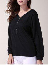 Stylish V-Neck 3/4 Sleeve Zippered Solid Color Women's T-Shirt