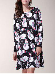 Sweet Jewel Neck Long Sleeve Snowman Print Polka Dot Women's Christmas Dress