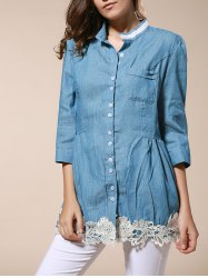 Stylish Stand Collar Lace Splicing 1/2 Sleeve Denim Blouse For Women