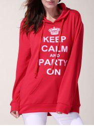 Simple Style Hooded Letter Printed Pocket Design Pullover Hoodie For Women