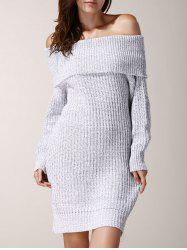 Elegant Low-Cut Off-The-Shoulder Solid Color Long Sleeve Sweater Dress For Women - LIGHT GRAY