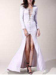 Sexy Long Sleeve Lace-Up Hollow Out High Slit Women's Dress -