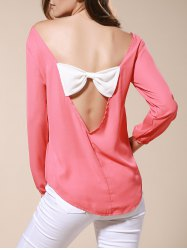Bowknot Embellished Open Back Blouse