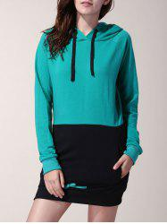 Attractive Drawstring Hooded Hit Color Long Pullover Hoodie For Women