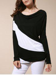 Color Matching Batwing Sleeve Cowl Neck Women's T-Shirt -
