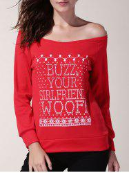 Trendy Skew Neck Long Sleeve Letter Pattern Christmas Sweatshirt For Women