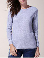 Chic Jewel Neck Long Sleeve Solid Color Bodycon Pullover T-Shirt For Women -