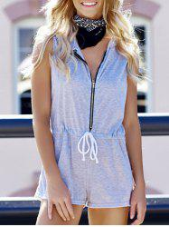 Casual Hooded Sleeveless Waist Drawstring Zippered Women's Romper - GRAY