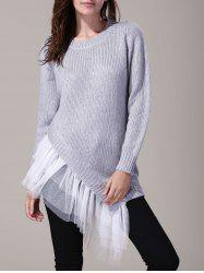 Women's Stylish Round Neck Lace Splicing Long Sleeve Asymmetrical Sweater -