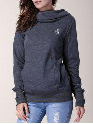 Stylish Inner Floral Printed Hooded Sheathy Pullover Hoodie For Women - BLACK GREY