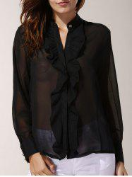 Ruffled Long Sleeve Chiffon Blouse